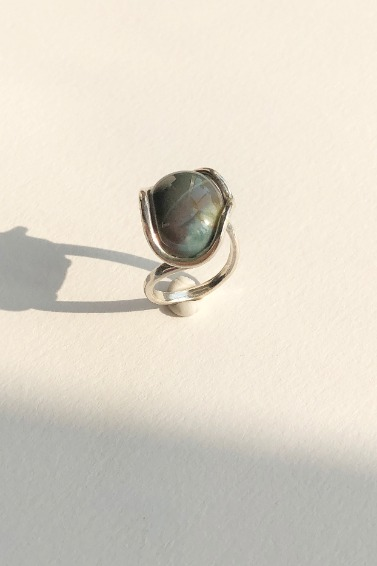 India Agate Gemstone Ring
