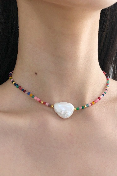 Gold Ball Mix, Point Pearl Necklace (Rainbow)