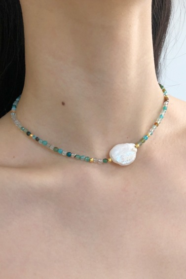 Gold Ball Mix, Point Pearl Necklace (Blue)